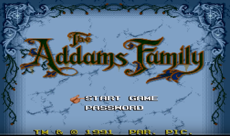 Addams Family Main Screen